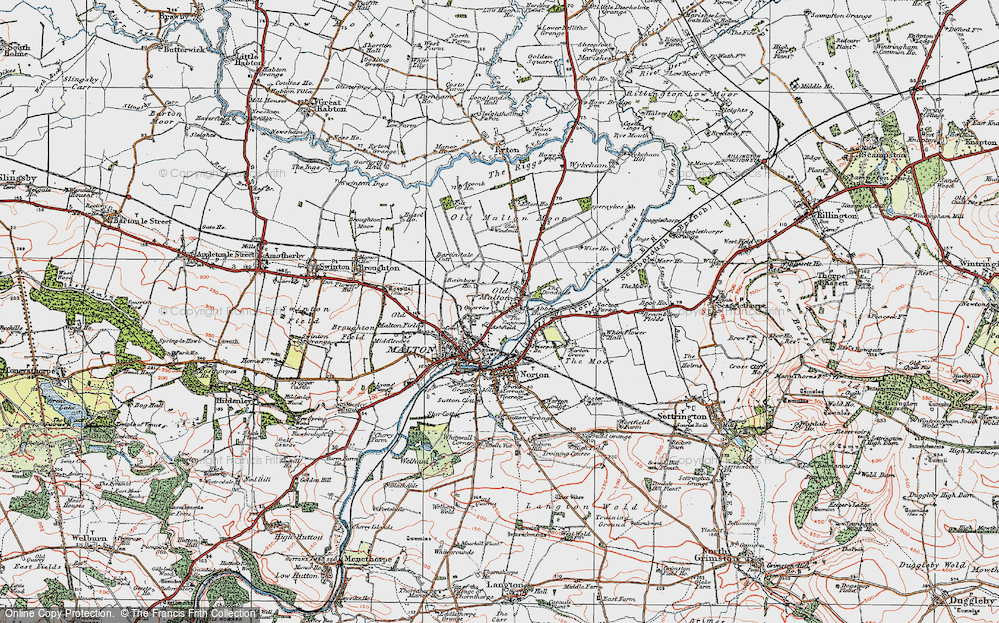 Old Map of Historic Map covering Abbey Ho, The in 1924