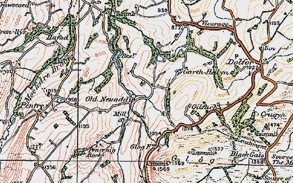 Old map of Banc Cefnperfedd in 1921