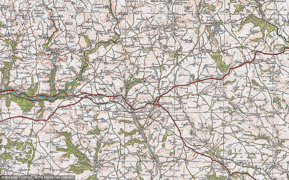 Old Map of Historic Map covering Woodhill Manor in 1919