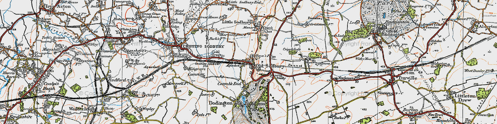 Old map of Old Sodbury in 1919