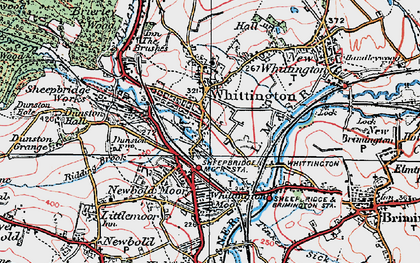 Old map of Old Whittington in 1923