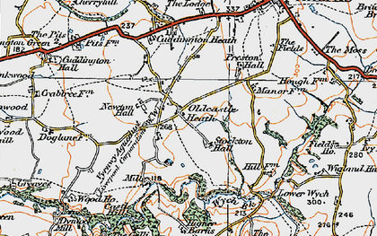 Old map of Wych Brook in 1921