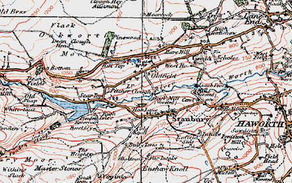 Old map of Withins Slack in 1925