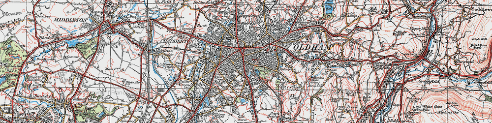 Old map of Oldham in 1924