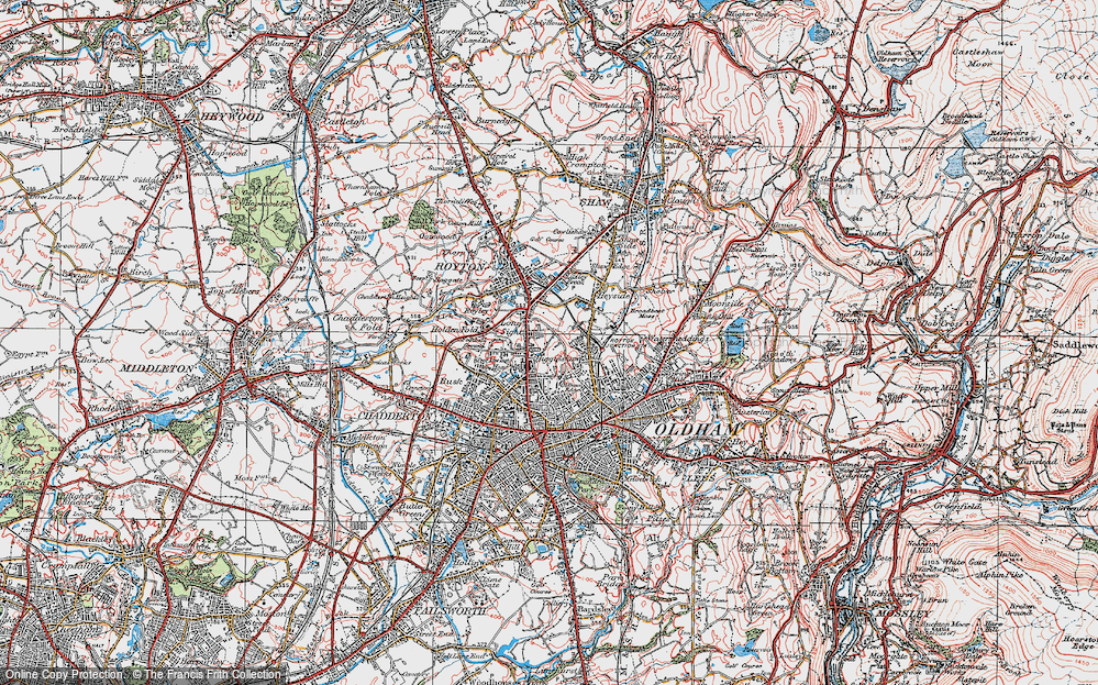 Map of Oldham Edge 1924 Francis Frith