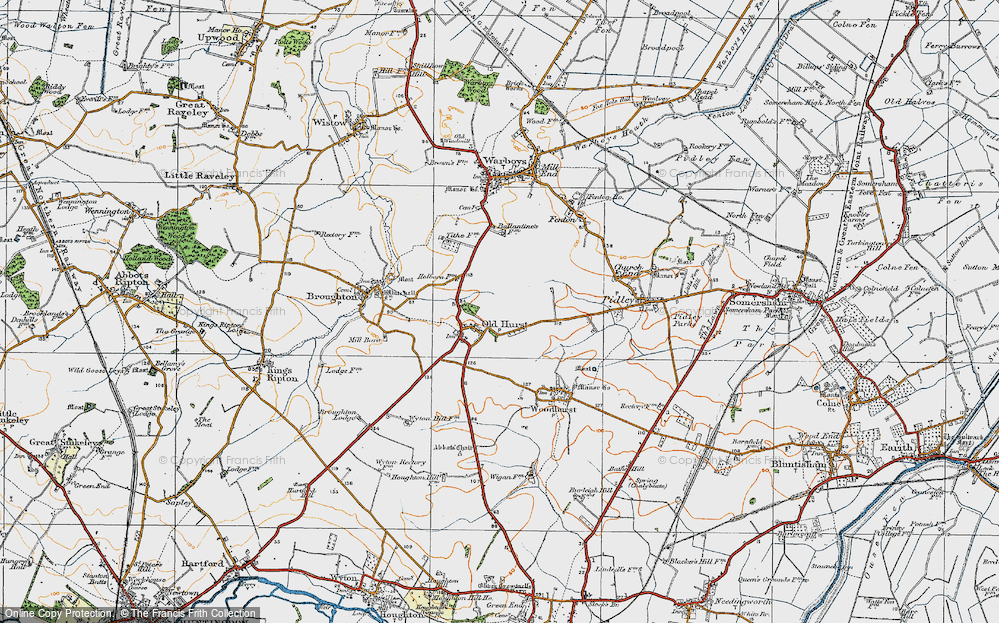 Old Map of Oldhurst, 1920 in 1920