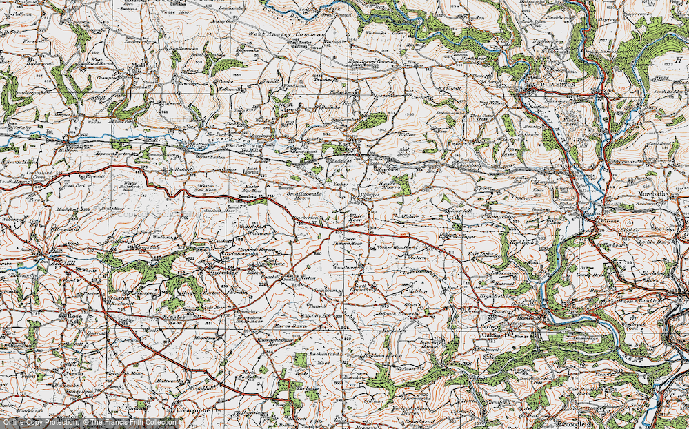 Old Map of Historic Map covering Allshire in 1919