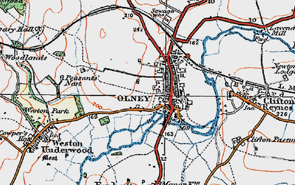 Old map of Olney in 1919
