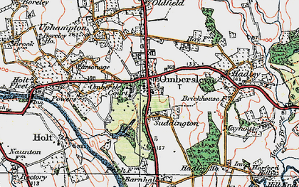 Old map of Ombersley in 1920
