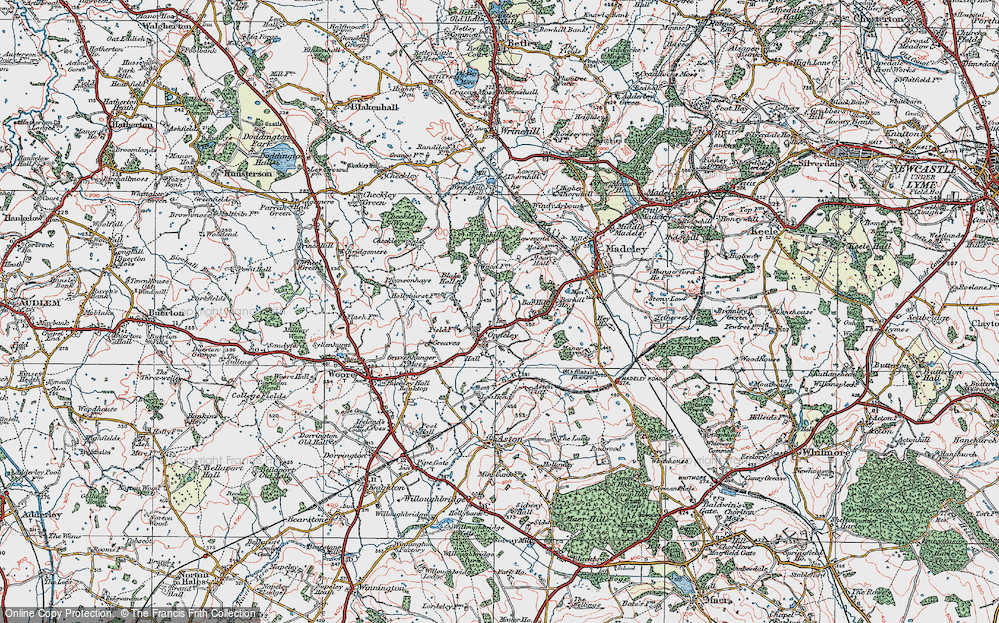 Old Map of Onneley, 1921 in 1921