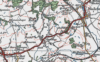 Old map of Wrinehill Wood in 1921