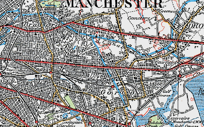 Old map of Openshaw in 1924