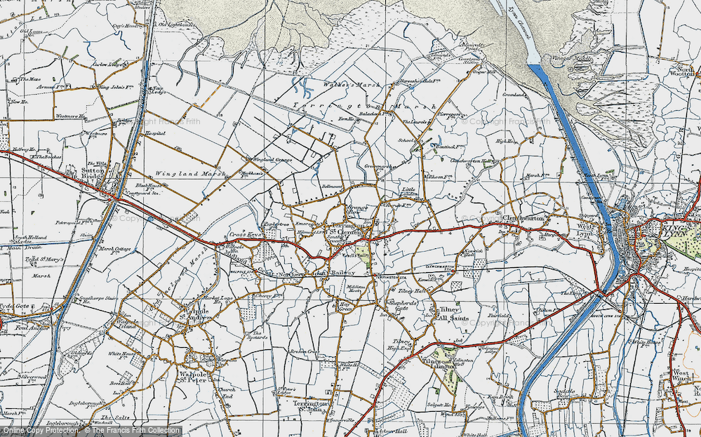 Old Map of Historic Map covering Alma Lodge in 1922