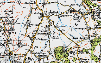 Old map of Orchard Portman in 1919