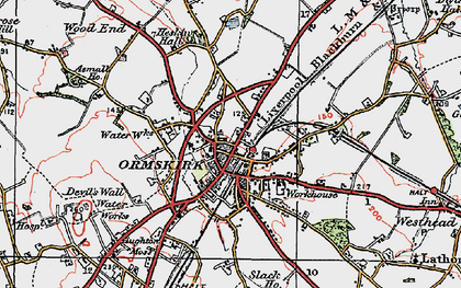 Old map of Ormskirk in 1923