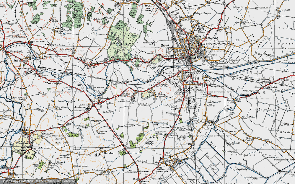 Old Map of Orton Longueville, 1922 in 1922