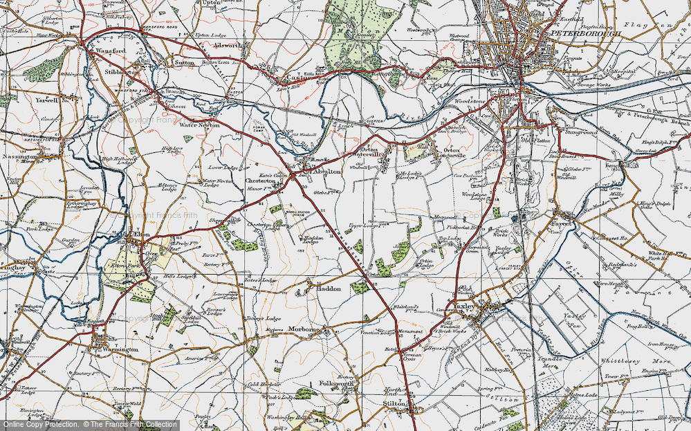 Old Map of Historic Map covering Toon's Lodge in 1922