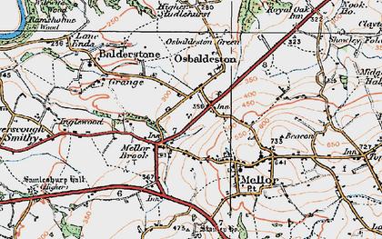Old map of Osbaldeston in 1924