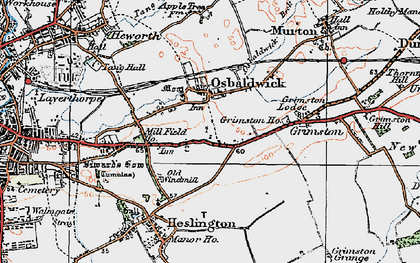 Old map of Osbaldwick in 1924