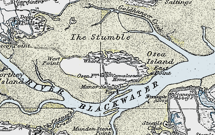 Old map of Osea Island in 1921