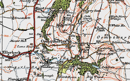 Old map of Osmotherley in 1925