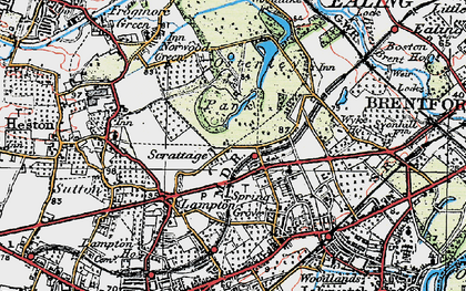Old map of Osterley in 1920