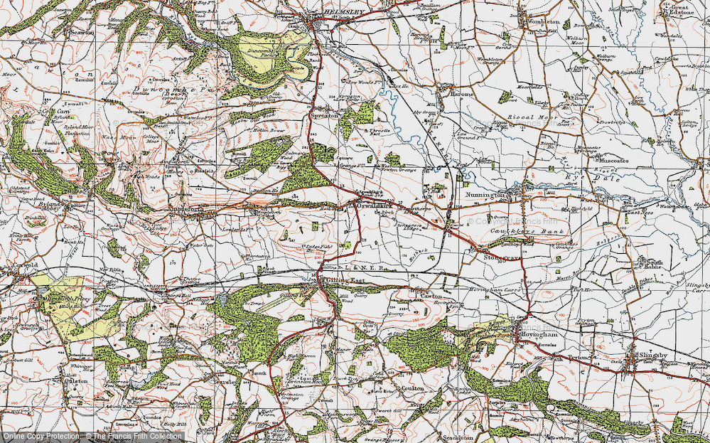 Old Map of Historic Map covering Leysthorpe in 1925