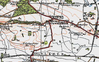 Old map of Oswaldkirk in 1925
