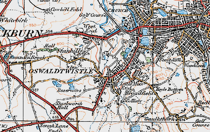 Old map of Oswaldtwistle in 1924