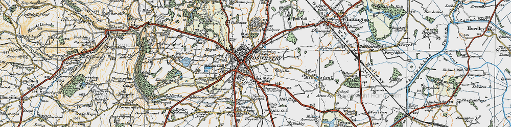 Old map of Oswestry in 1921