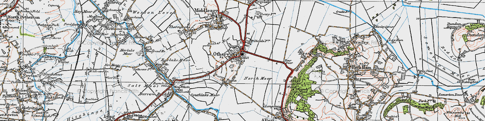 Old map of Othery in 1919