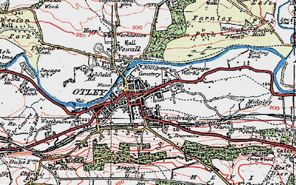 Old map of Otley in 1925
