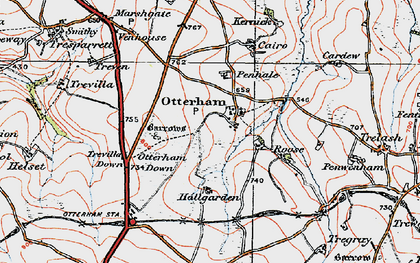 Old map of Otterham in 1919