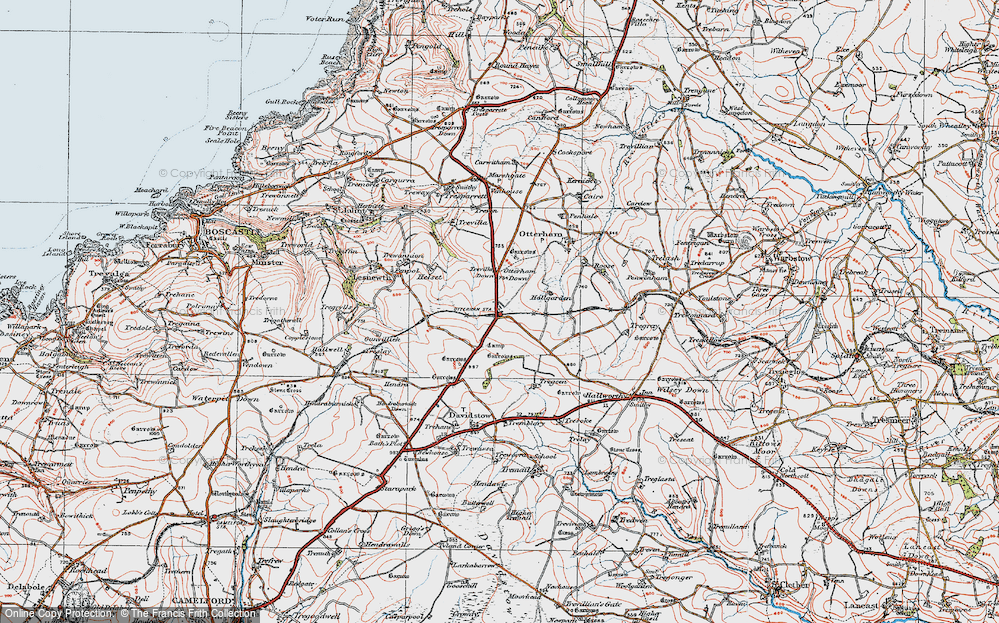 Old Map of Historic Map covering Tich Barrow in 1919