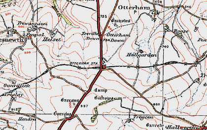 Old map of Otterham Station in 1919