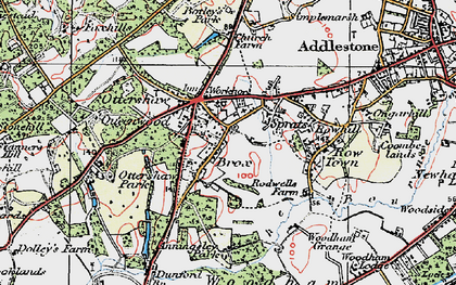 Old map of Ottershaw in 1920