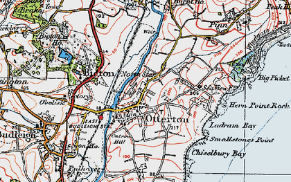 Old map of Otterton in 1919