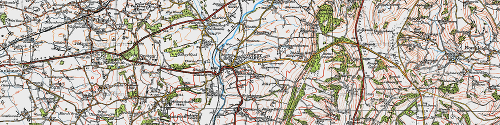 Old map of Ottery St Mary in 1919