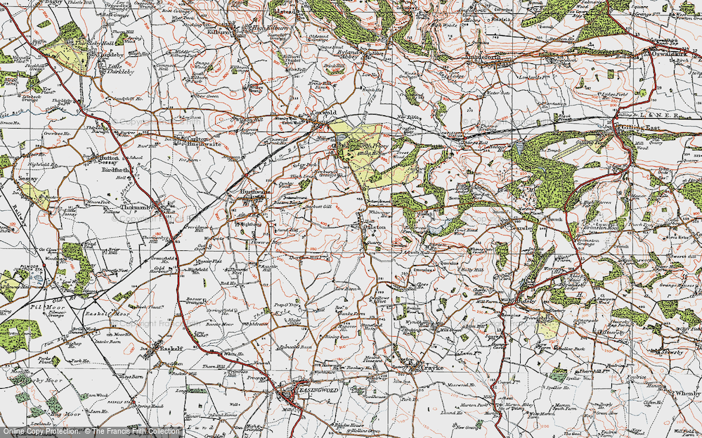 Old Map of Historic Map covering Adam's Hall in 1925