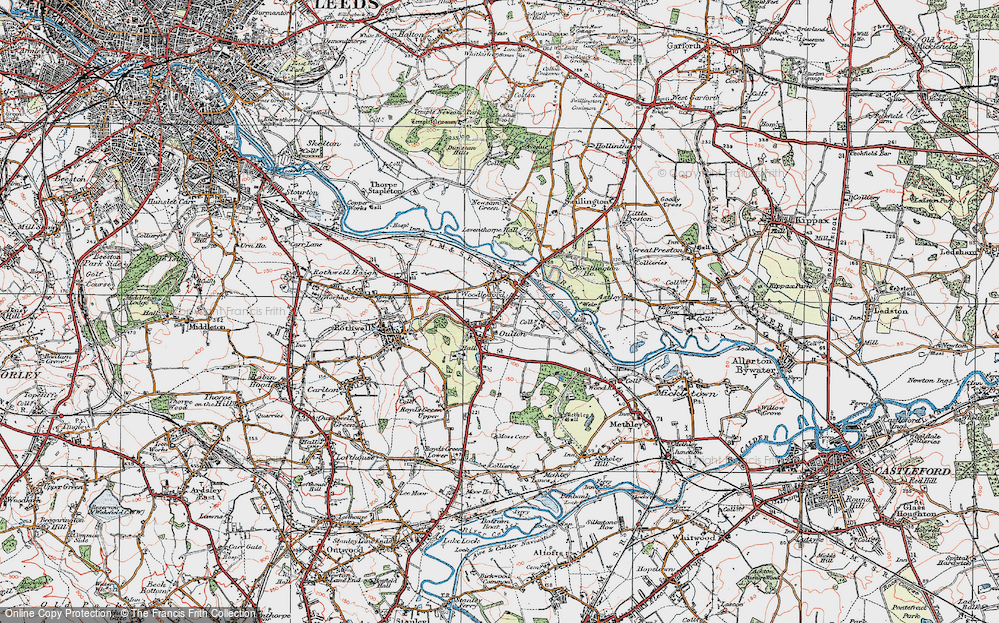 Old Map of Historic Map covering Aire & Calder Navigation in 1925