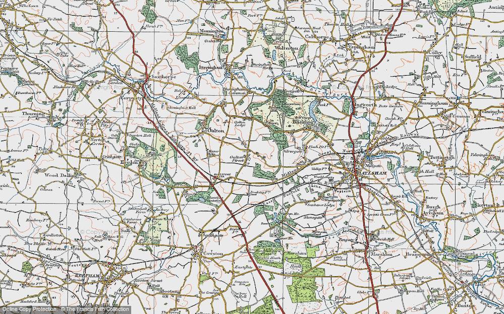 Old Map of Historic Map covering Leaselands, The in 1922
