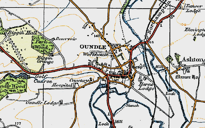 Old map of Oundle in 1920