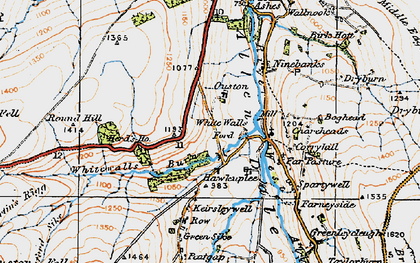 Old map of Whitewalls Burn in 1925