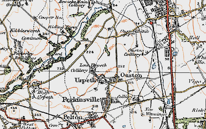 Old map of Ouston in 1925