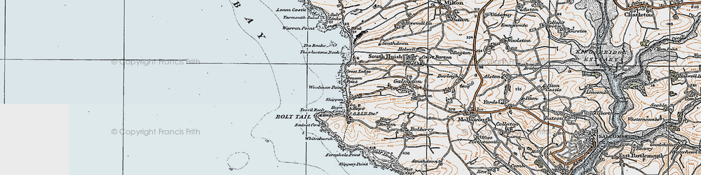 Old map of Thurlestone Rock in 1919