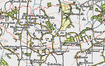 Old map of Outwood in 1920
