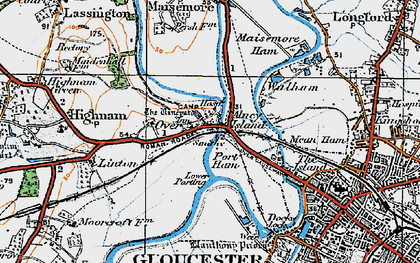 Old map of Over in 1919