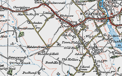 Old map of Over in 1923