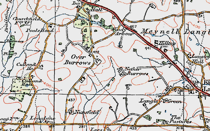 Old map of Over Burrows in 1921