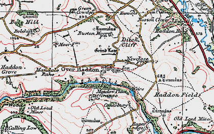Old map of Over Haddon in 1923